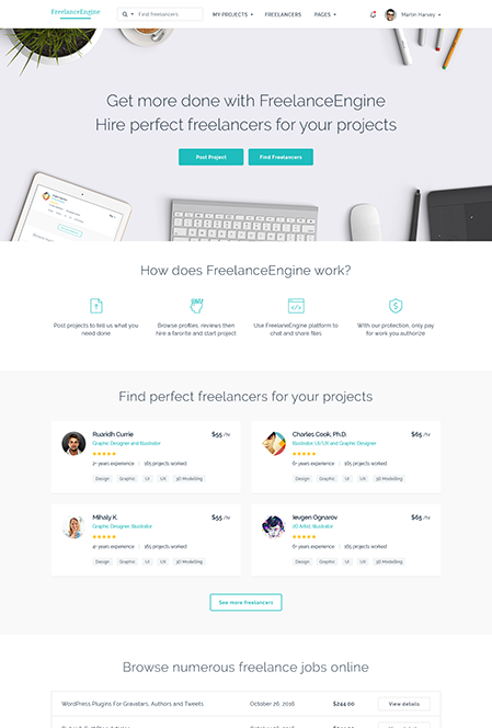 FreelanceEngine Freelance Marketplace WordPress Theme Hompage Demo