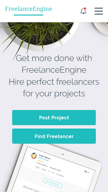 FreelanceEngine Freelance Marketplace WordPress Theme Hompage Mobile