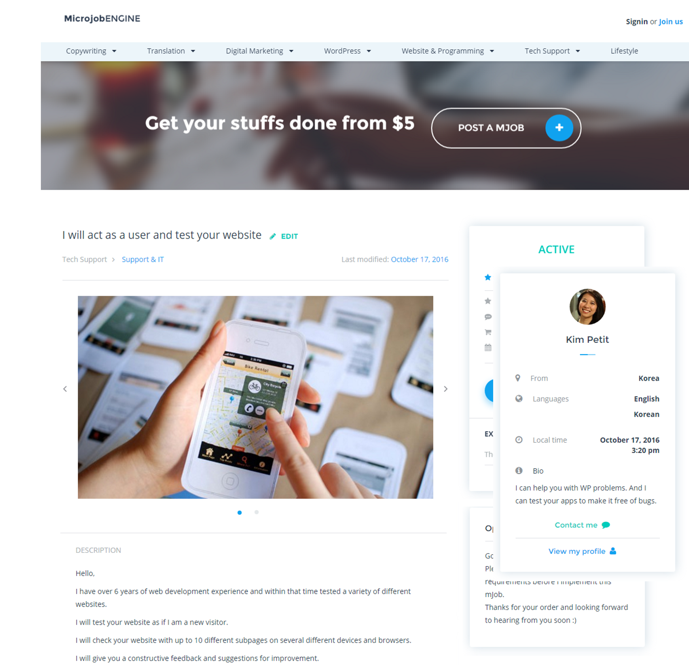 Micro Job WordPress Theme Microjobengine Marketplace Theme