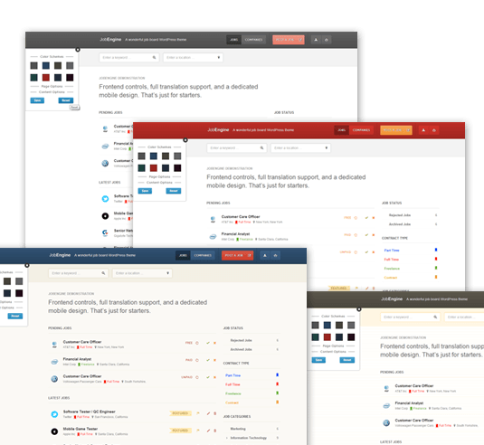 Customize your job board using JobEngine's adaptive color schemes