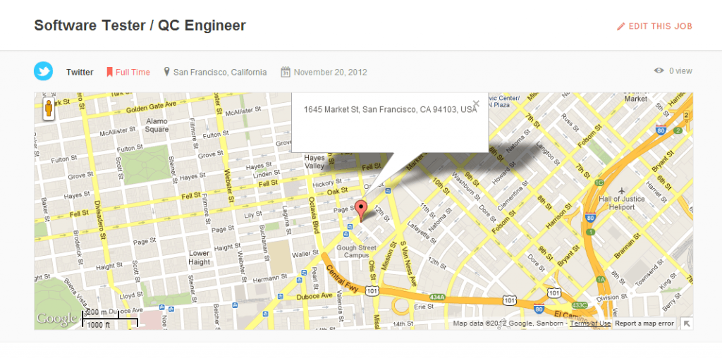 Map in Job Page