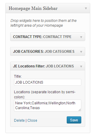 Location Filter Widget Settings in JobEngine - Job Board Software, WordPress Job Board